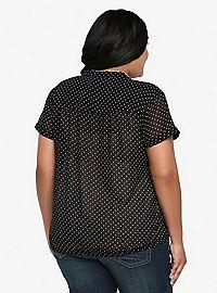 TORRID.COM - Polka Dot Chiffon Shirt