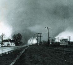 Palm Sunday tornado, April 11, 1965. A rare double tornado near Elkhart, IN.    I helped with a huge volunteer cleanup effort from my high school--amazing damage!