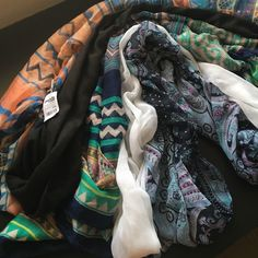 Five(5) Scarves Mixture of regular long scarves and infinity scarves. Long scarves are large enough to use as beach coverup. Charlotte Russe Accessories