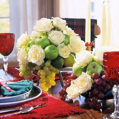 Centerpiece with Apples and Roses