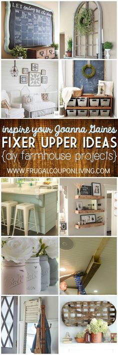 Inspire Your Joanna Gaines - DIY Fixer Upper Ideas on Frugal Coupon Living. DIY Farmhouse design ideas for every living space. #fixerupper #homedecor #upcycle #homecrafts #farmhousedecor #farmhouse #JoannaGaines #JoannaGainesideas #fixerupper #farmhouse #farmhousestyle #upcycled #chalkpaint #homedecor #homemade #homestyle #upcycledfurniture #farmhousetable #diyfarmhousetable #farmhousedecor