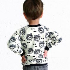 Bear with Glasses Jumper | Vanilla/ivory  { Description } • Soft, stretchy sweat knit baby jumper • 95% cotton, 5% elastane • Graphic pattern by Andrea
