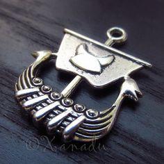 3PCs Viking Warship Wholesale Silver Plated Pendant Charms - C1054
