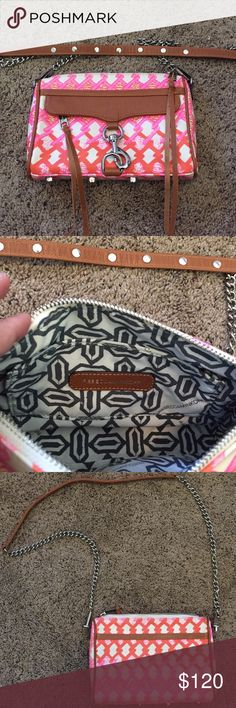"""Rebecca Minkoff Mini Mac Like new! Pink and orange print on coated canvas. Brown leather strap and trim. Silver chain and metal accents. No damage or signs of wear. Measurements: 9"""" x 6.5"""" x 1.5"""". Rebecca Minkoff Bags"""