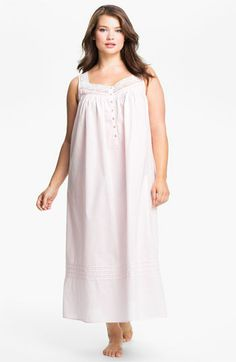 Eileen West Lace Trim Sleeveless Nightgown (Plus) | Nordstrom