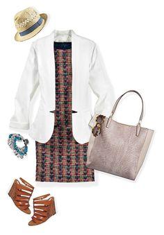 Usa un vestido de corte recto, unos wedges y un blazer. Cuando quieras un look relajado, añade un sombrero y usa una bolsa grande. ¡Todo en uno!