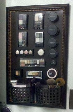 DIY Magnetic Make Up Board : frame + metal board (from hardware store) + spray paint +  2 plastic soap holders + adhesive magnetic strips