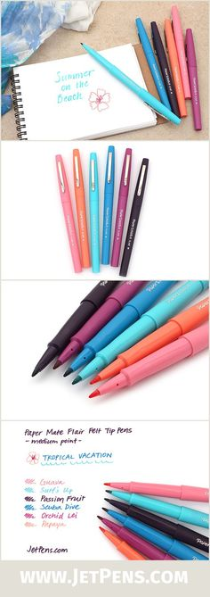 Paper Mate Flair Felt Tip Pen - Medium Point - Tropical Vacation - 6 Color Set - Limited Edition