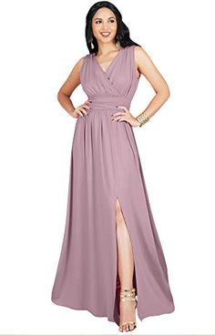 dbca55c258d KOH KOH Womens Long Bridesmaid Wedding Guest Cocktail Party Sexy Sleeveless  Summer V-Neck Evening Slit Split Day Full Floor Length Gown Gowns Maxi Dress  ...