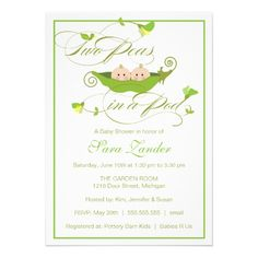 Twins Baby Shower Invitation - Two Peas in a Pod.  $2.50