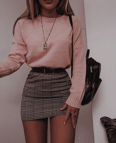 48 cool outfit ideas for a flawless look - Fashion - . - 48 cool outfit ideas for a flawless look – Fashion – - Winter Fashion Outfits, Look Fashion, Winter Outfits With Skirts, Plaid Skirt Outfits, Cute Winter Clothes, Checked Skirt Outfit, Fall Fashion, Womens Fashion, Plaid Mini Skirt