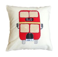London bus Red pillow cushion appliqued felt and hand by Jamcrafts, $60.00