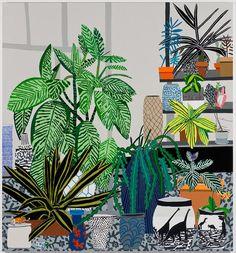 Jonas Wood Dinosaur Pots Still Life, 2014 Oil and acrylic on canvas 100 x 93…