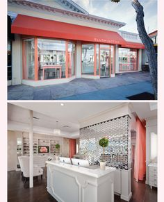 The gorgeous exterior and reception area of the perfectly designed Blushington Makeup & Beauty Lounge.
