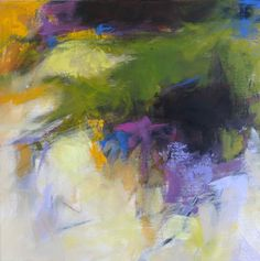 Small Abstract with Green and Violet, 12x12 acrylic on canvas by Debora L. Stewart