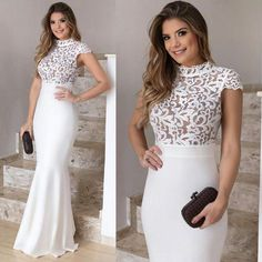 Elegant White ChiffonProm Dress, Mermaid Prom Dresses, Lace Prom Dress,Top High Neck Cap Sleeve Evening Dress, Simple Cheap Pageant Dress Long Gowns For Prom Elegant Dresses, Cute Dresses, Beautiful Dresses, Formal Dresses, Mermaid Prom Dresses Lace, Lace Dress, Evening Dresses With Sleeves, Evening Gowns, Cheap Pageant Dresses