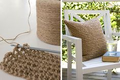 Oh my goodness, I love this! A twine pillow cover... totally something I would do. For indoors OR outdoors.