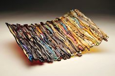 Wave Glass Series- Ambers and Browns with Irid- Fused Glass Art made by me! by annabelle