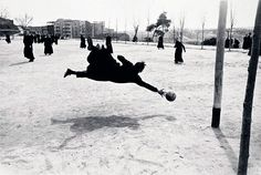 Seminarists playing football in Madrid Spain. Ramones, Photographie Leica, Flamenco Dancers, Historical Monuments, Goalkeeper, Priest, Black And White Photography, Monochrome Photography, Contemporary Photography