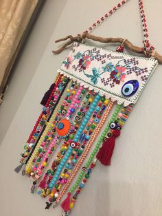 Crocheted toran in bright, happy colors, valance, boho decoration, window decoration door craftsbymischa op Etsy Crochet Wall Hangings, Crochet Curtains, Beaded Curtains, Felt Roses, Colorful Curtains, Loom Patterns, Crochet Home, Diy Crafts To Sell, Handmade Art
