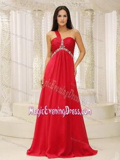 One Shoulder Red and Waist Ruched Appliques Women Evening Dresses
