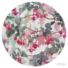 Rainbow Fuchsia Floral Pattern - with grey