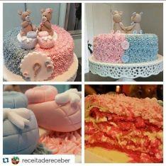 Idéias de bolos lindos para chá de revelacao do sexo do bebê 30