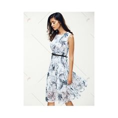 Elegant Jewel Neck Sleeveless Floral Belted Dress For Women ($19) ❤ liked on Polyvore featuring dresses, floral print sleeveless dress, sleeveless dress, white flower print dress, white belted dress and floral print dress