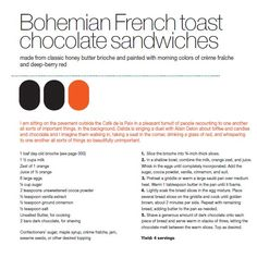 Bohemian French Toast Chocolate Sandwiches from Max Brenner's Love Story Recipe Book Clean Eating Recipes, Cooking Recipes, Max Brenner, Delicious Desserts, Dessert Recipes, Veggie Recipes, Veggie Food, Honey Butter, Healthy Cake