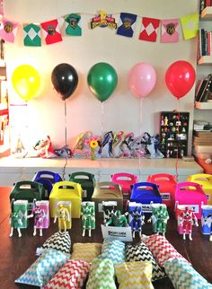 Use the power ranger colours for balloons