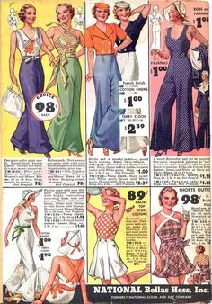 styling'! especially the two in the upper left corner... ~ 1930s beach pajamas