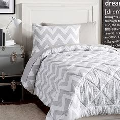 Zig Zag Stripe Deluxe Comforter Value Set, XL Twin, Light Grey