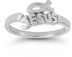 """""""A Name Above Every Name"""" Jesus Icthus Ring on SonGear.com - Christian Shirts, Jewelry"""