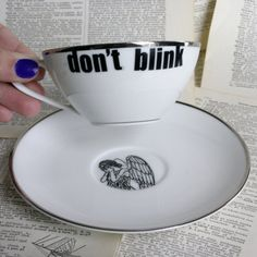 Silverdale Don't Blink Dr Who Themed Teacup by geekdetails on Etsy, $29.00
