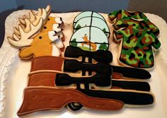 12 deer hunting sportsman rifle camo sugar cookies camo by chast8888 on Etsy, $36.00