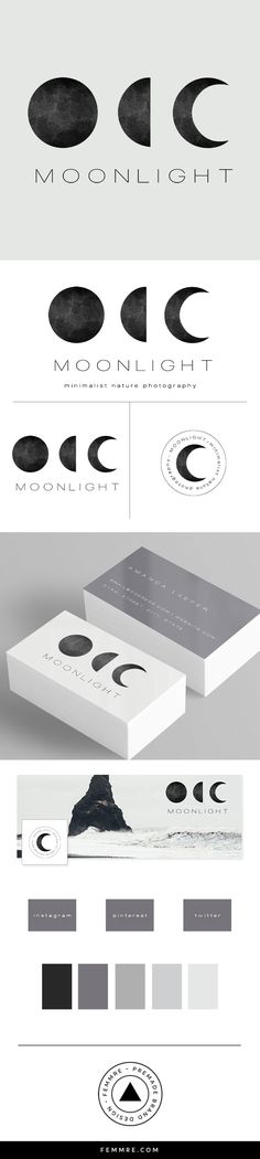 Moonlight Photographer Premade Brand Launch (sold only once) | FEMMRE - Exclusive Premade Branding | logo design, brand design, branding, premade brand, premade logo