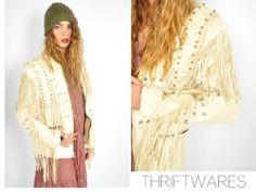 vtg 70s cream FRINGE BONE COLLECTOR boho hippie leather biker jacket coat s/m