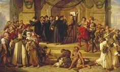Luther spijkert de 95 stellingen aan de slotkerk in Wittenberg door Julius Hübner, 1865