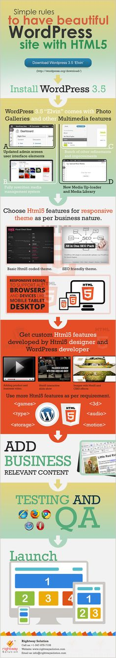 Simple rules to have beautiful WordPress site with HTML 5 #infografia #infographic