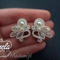 sutasz ślubny - Búsqueda de Google Diy Necklace, Diy Earrings, Bridal Earrings, Earrings Handmade, Bridal Jewelry, Handmade Jewelry, Ribbon Jewelry, Bead Jewellery, Fabric Jewelry