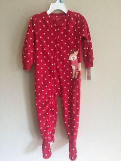 a637af671a Carter s 24 Months Pajamas Reindeer Red Fleece Footie Pajamas Sleepwear New   Carters  OnePiece Beachwear