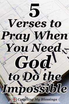 Bible Verses:The Bible says, Nothing is impossible for God. These 5 prayers will help you pray when you need Him to do what only He can do in your impossible circumstances. Prayer Scriptures, Bible Prayers, Faith Prayer, God Prayer, Prayer Quotes, Bible Verses Quotes, Faith Quotes, Hope Quotes, Quotes Quotes