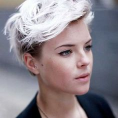 Short Cropped Platinum Blonde Hair
