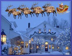 animated Christmas Sleigh rides | Santa Santas Sleigh Merry Christmas animation animations animated ...
