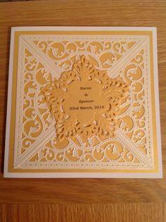 Wedding card using spellbinders gold elements corner die