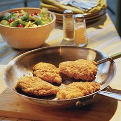 100 Ways to Cook Southern | Crunchy Pan-Fried Chicken | SouthernLiving.com...Seasoned breadcrumbs and self-rising cornmeal give Crunchy Pan-Fried Chicken a crisp golden-brown crust without a skillet full of extra oil. This crispy coating is also terrific on skinned and boned chicken thighs or pork chops.