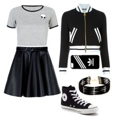 """""""Untitled #9"""" by sabichoux1427 ❤ liked on Polyvore featuring WithChic, MSGM, Converse, Moschino, adidas and Forever 21"""