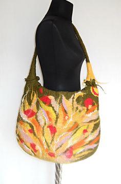 Felted Bag Tote Bag Purse wild Felt Nunofelt by FeltNunoFelted, $80.00