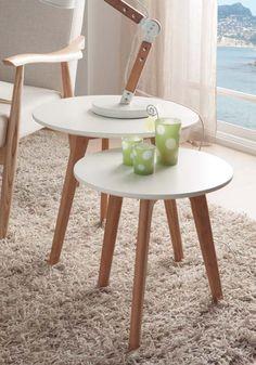 Juego de mesas de centro diseño nordico redondas.