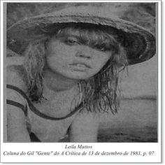 """Leila Mattos. Coluna do Gil """"Gente"""" do A Crítica de 13 de dezembro de 1981."""